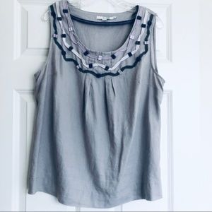 Boden Linen Embroidered Ribbon Tank Size 14
